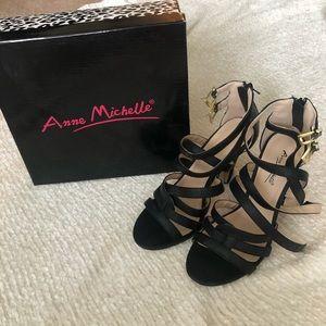 Go Jane Anne Michelle Black Stappy Heels
